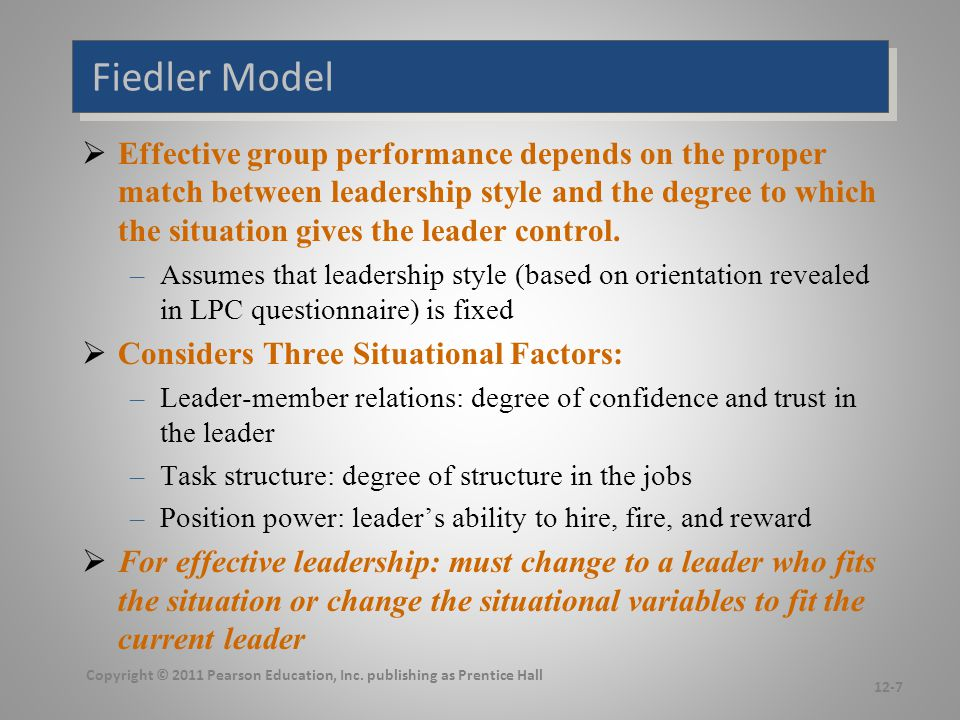 Graphic Representation of Fiedler's Model