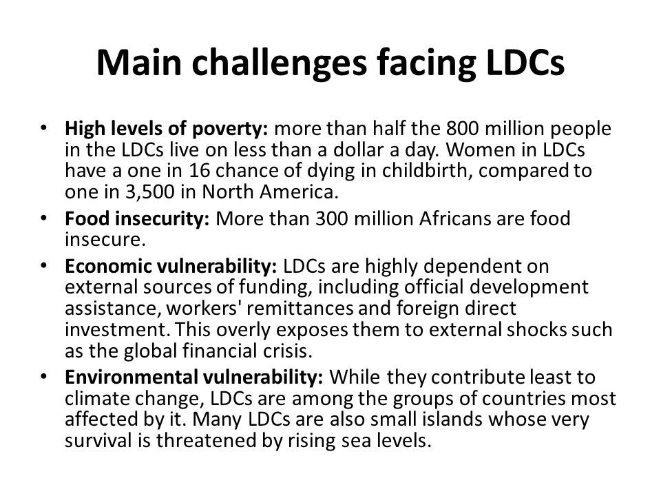 Main challenges facing LDCs