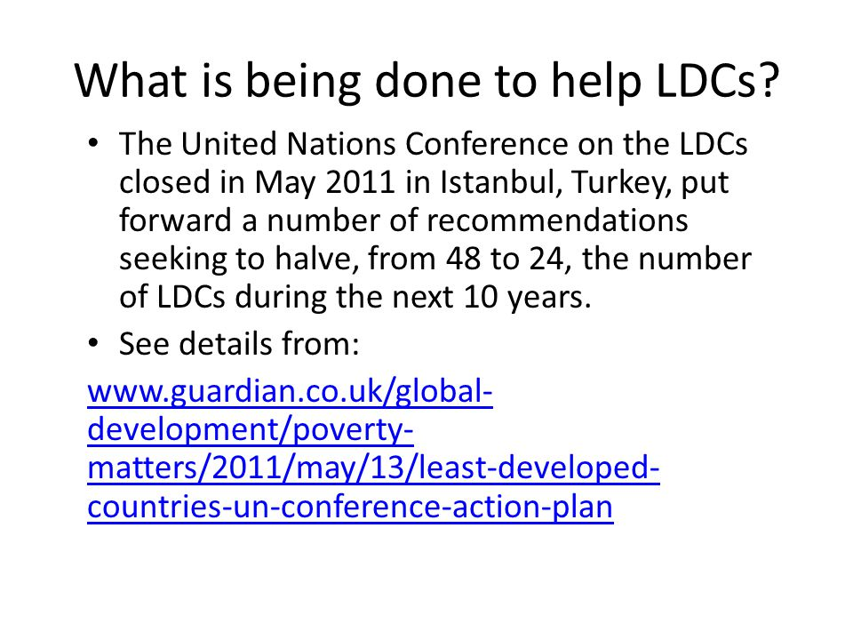 What is being done to help LDCs