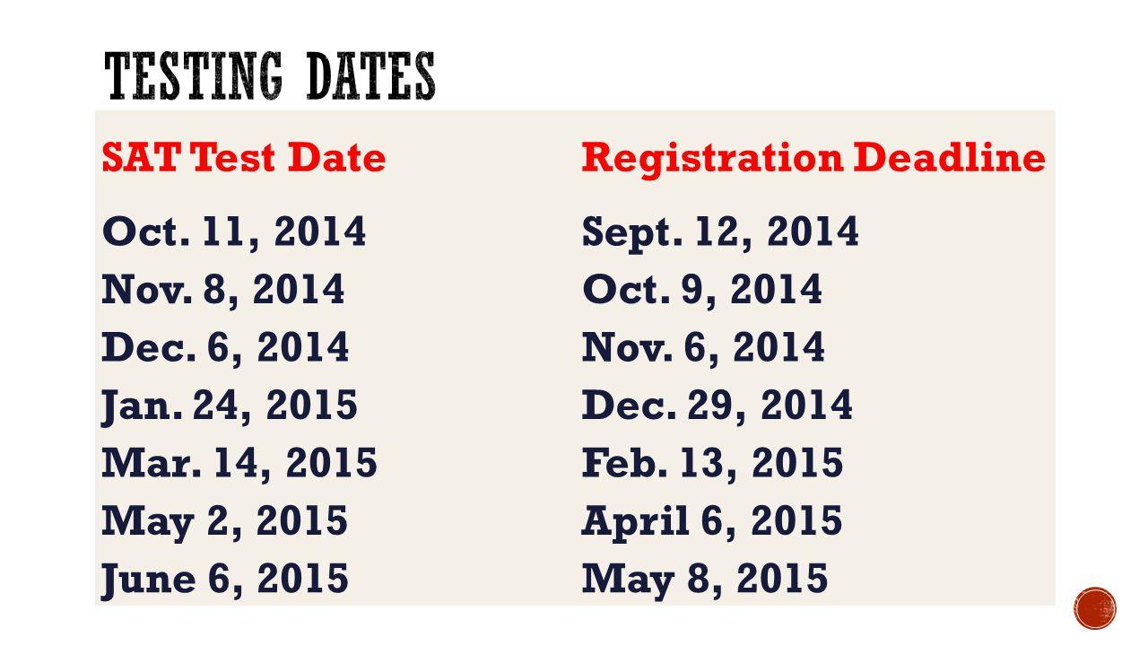 Testing Dates SAT Test Date Registration Deadline Oct. 11, 2014