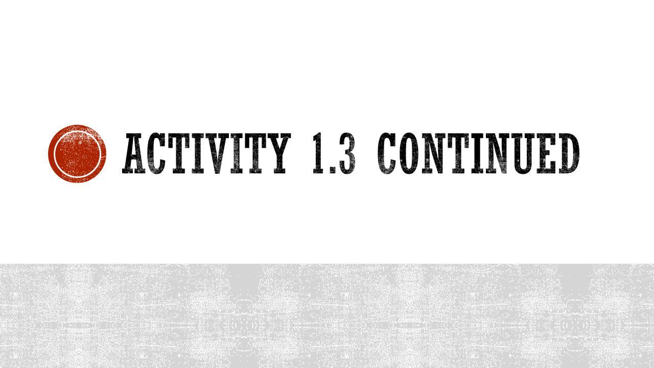 Activity 1.3 continued