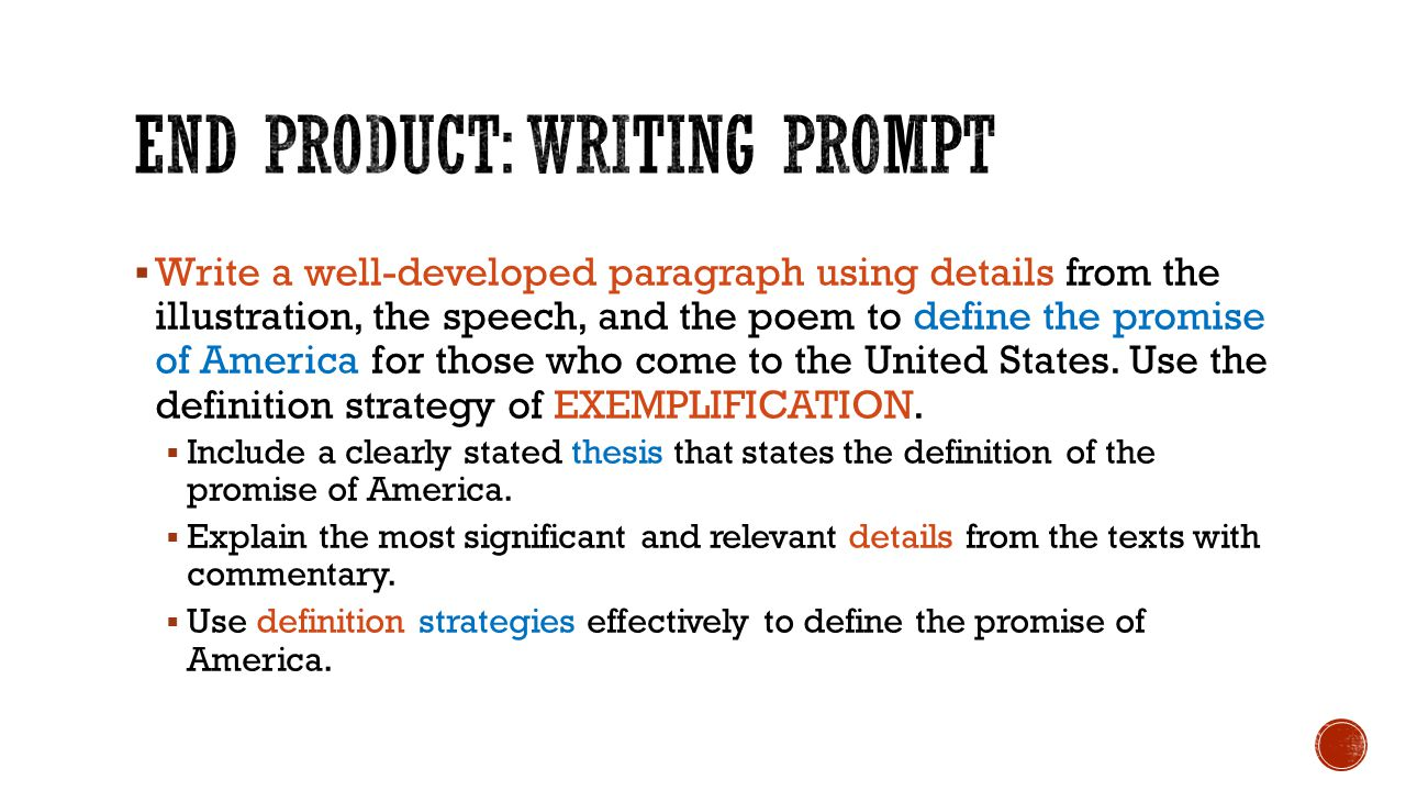 End Product: Writing prompt