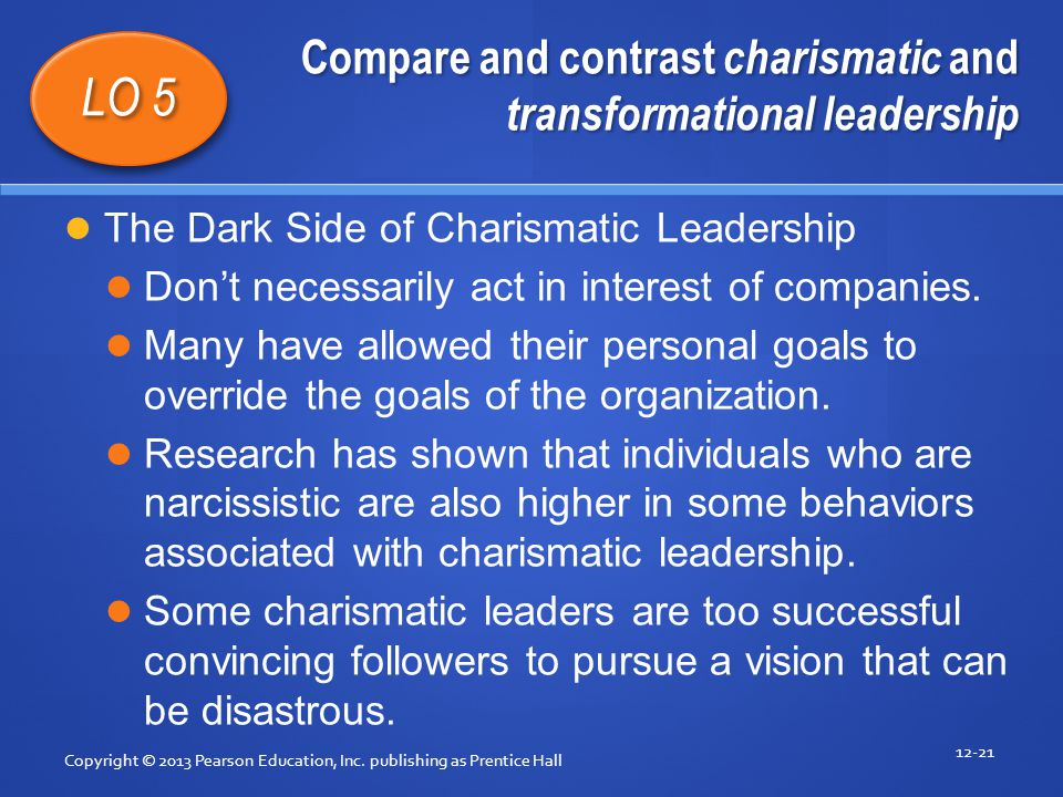 Compare and contrast charismatic and transformational leadership