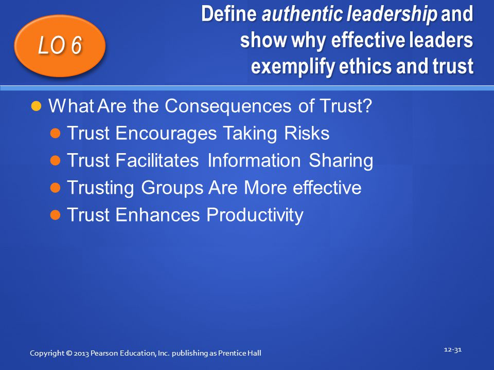 Define authentic leadership and show why effective leaders exemplify ethics and trust