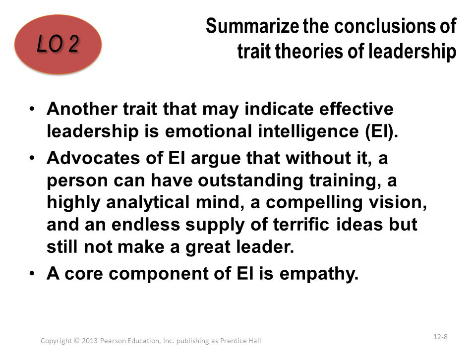Summarize the conclusions of trait theories of leadership