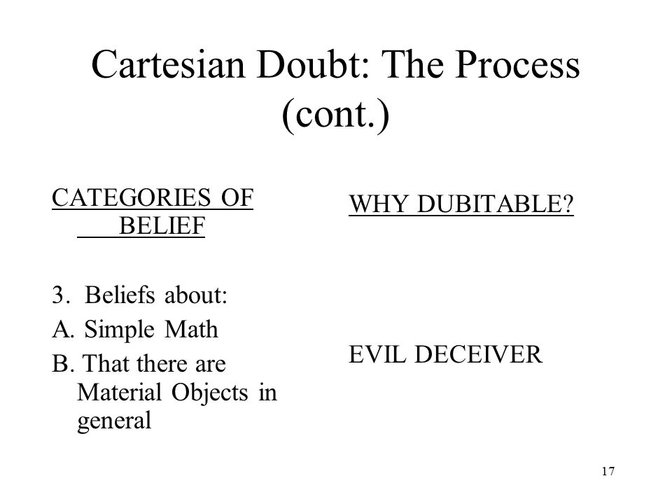 Cartesian Doubt: The Process (cont.)