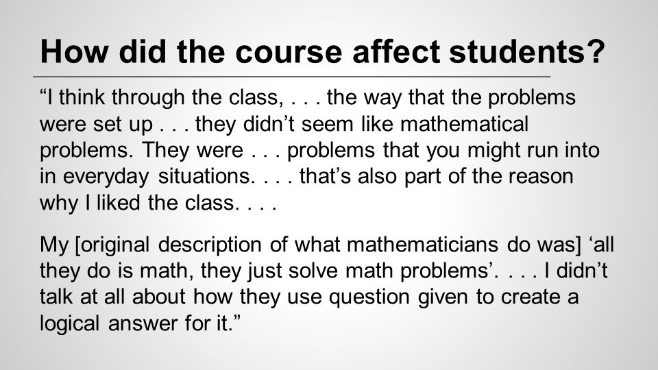 How did the course affect students
