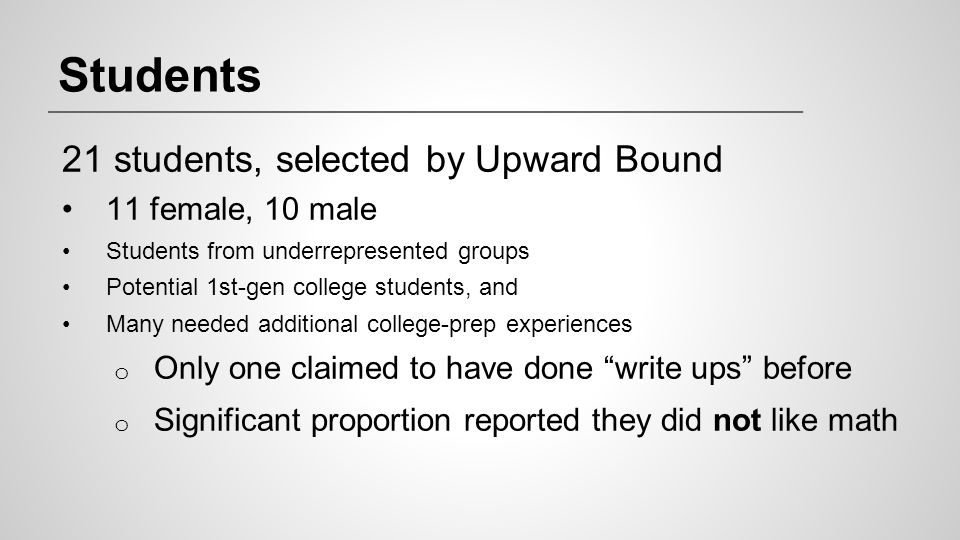 Students 21 students, selected by Upward Bound 11 female, 10 male