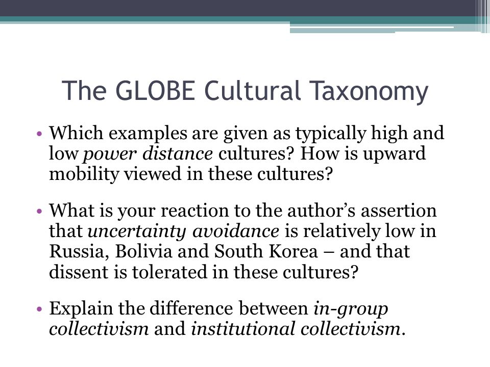 The GLOBE Cultural Taxonomy