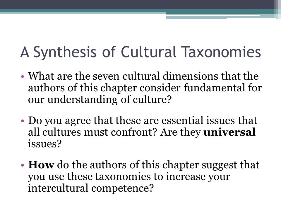 A Synthesis of Cultural Taxonomies