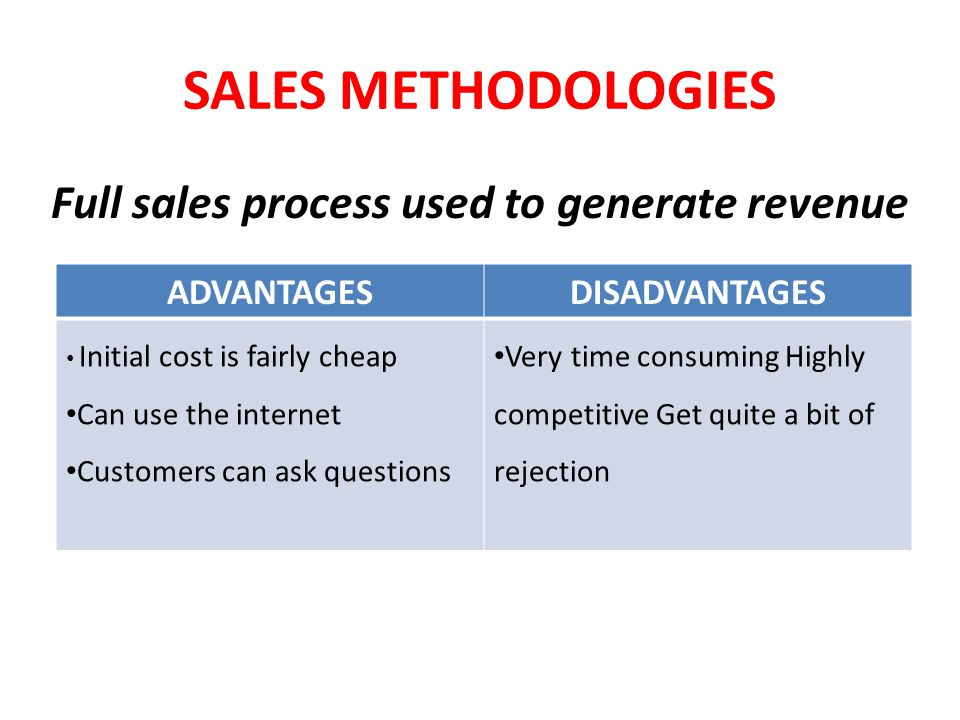 Full sales process used to generate revenue
