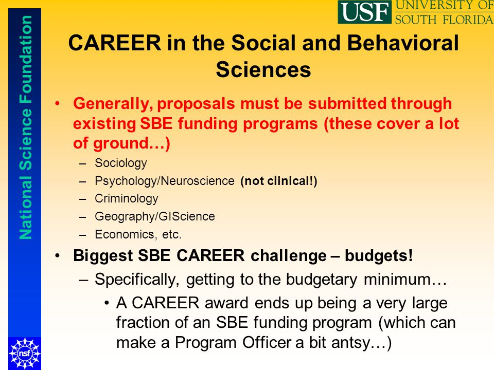 CAREER in the Social and Behavioral Sciences