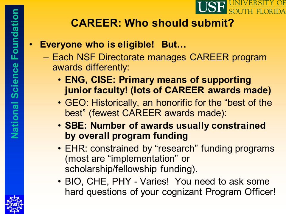 CAREER: Who should submit