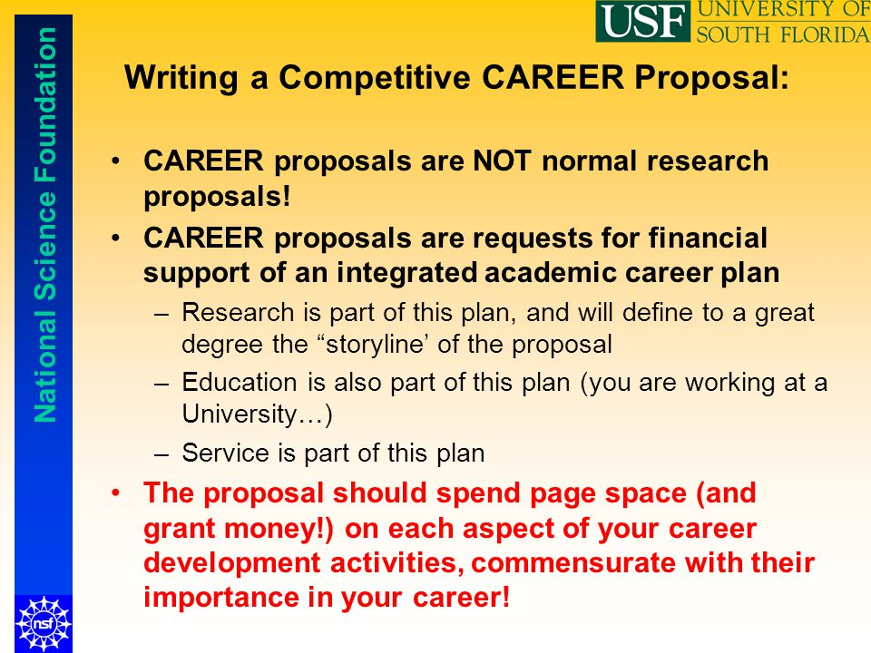 Writing a Competitive CAREER Proposal: