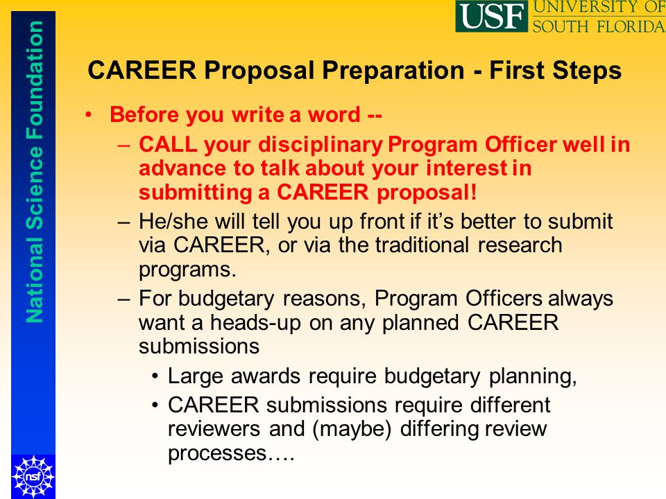 CAREER Proposal Preparation - First Steps