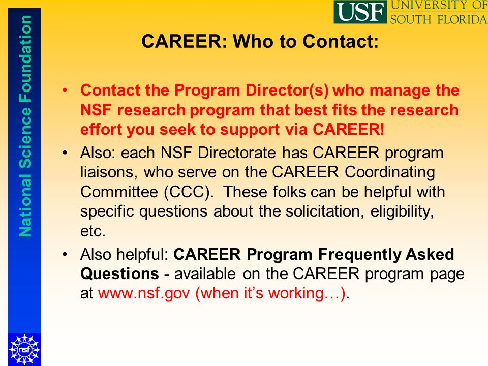 CAREER: Who to Contact: