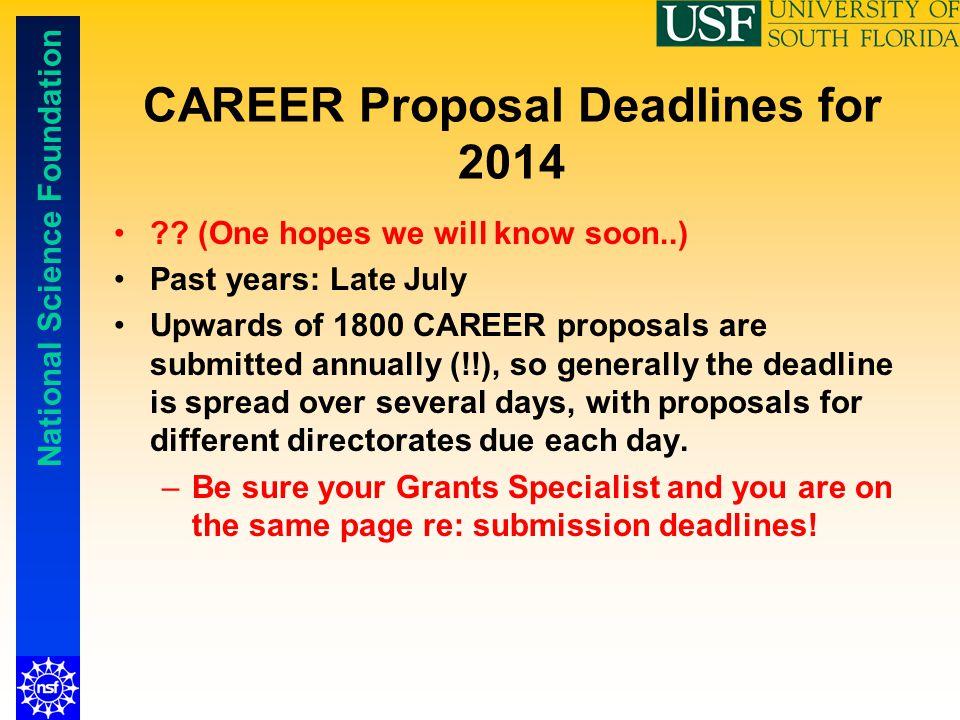 CAREER Proposal Deadlines for 2014