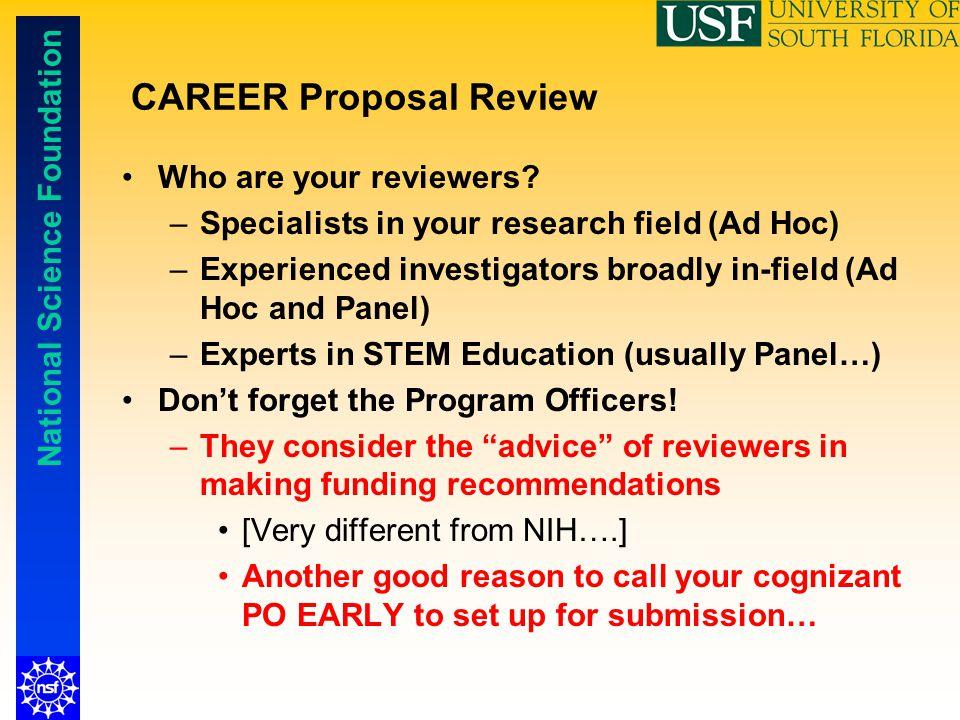 CAREER Proposal Review