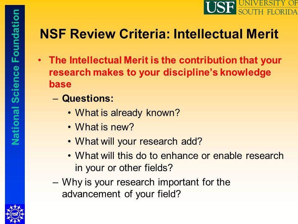 NSF Review Criteria: Intellectual Merit