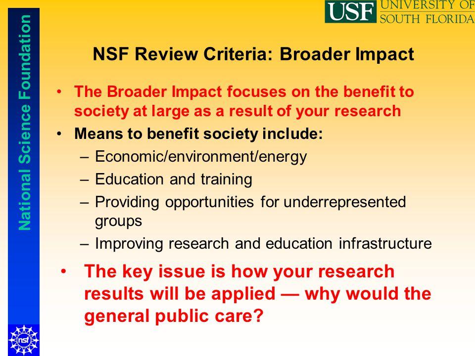 NSF Review Criteria: Broader Impact