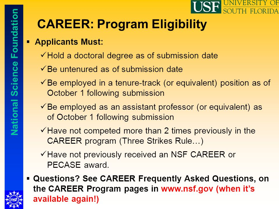 CAREER: Program Eligibility