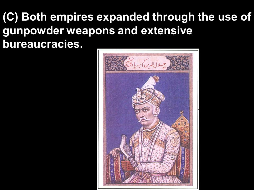 (C) Both empires expanded through the use of gunpowder weapons and extensive bureaucracies.