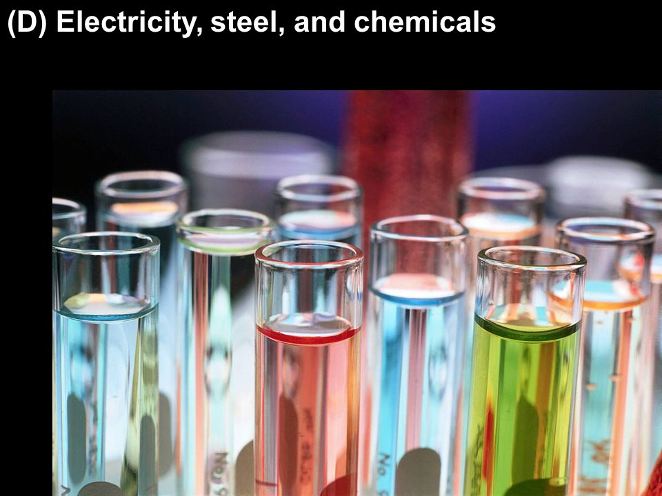 (D) Electricity, steel, and chemicals