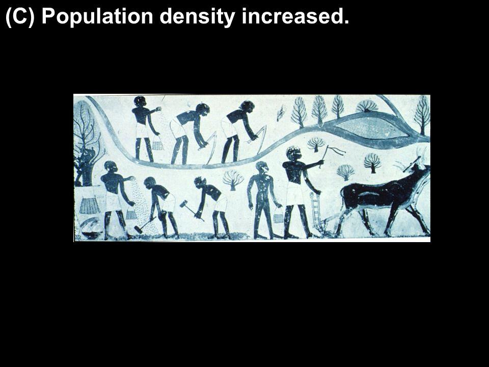 (C) Population density increased.