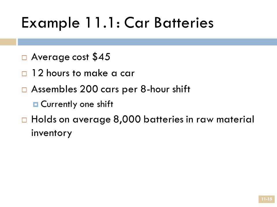Example 11.1: Car Batteries
