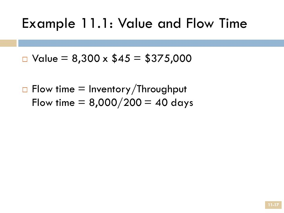 Example 11.1: Value and Flow Time