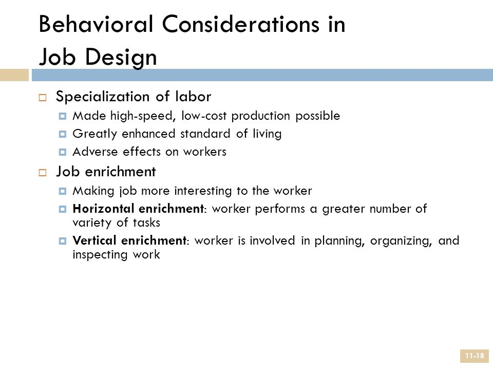 Behavioral Considerations in Job Design