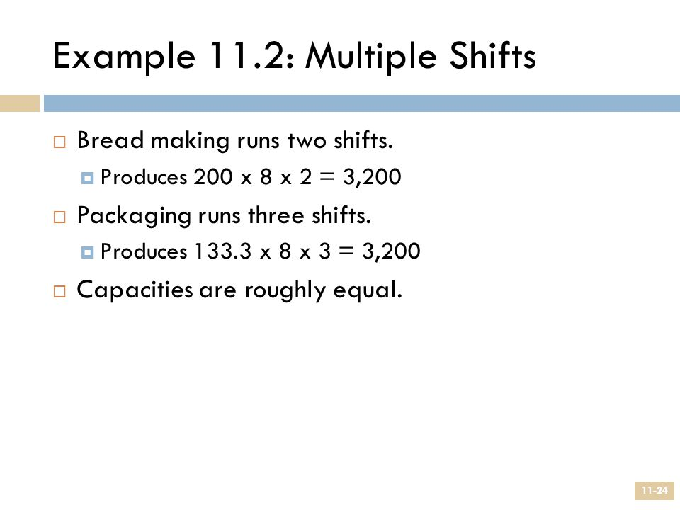 Example 11.2: Multiple Shifts