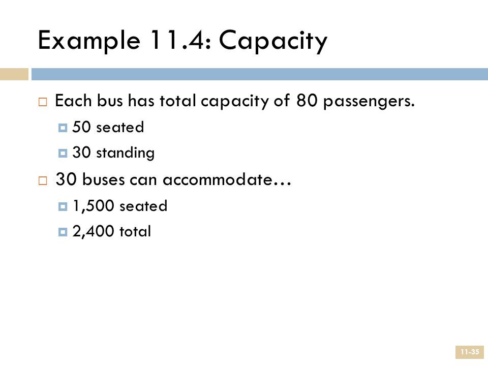 Example 11.4: Capacity Each bus has total capacity of 80 passengers.