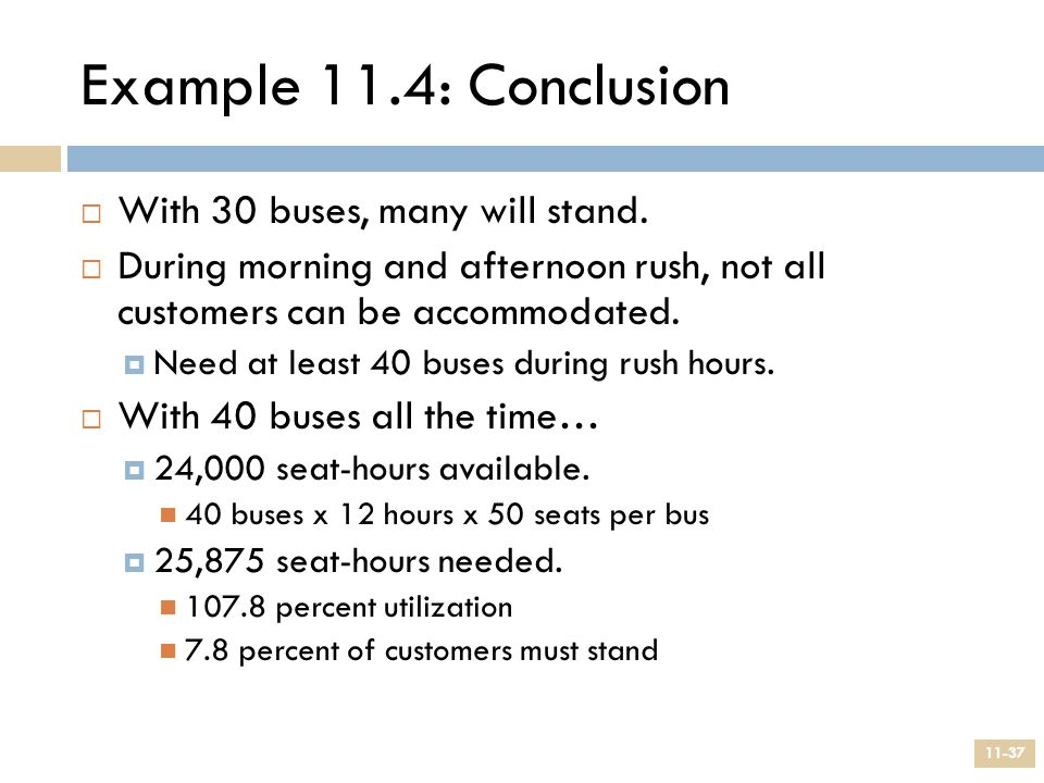 Example 11.4: Conclusion With 30 buses, many will stand.