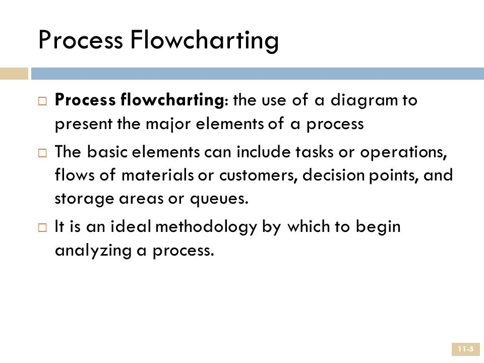 Process Flowcharting Process flowcharting: the use of a diagram to present the major elements of a process.
