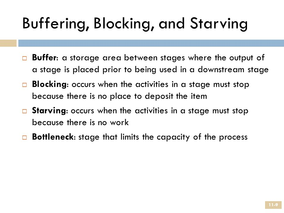 Buffering, Blocking, and Starving