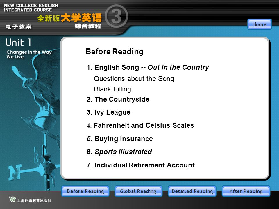 BR-main Before Reading 1. English Song -- Out in the Country