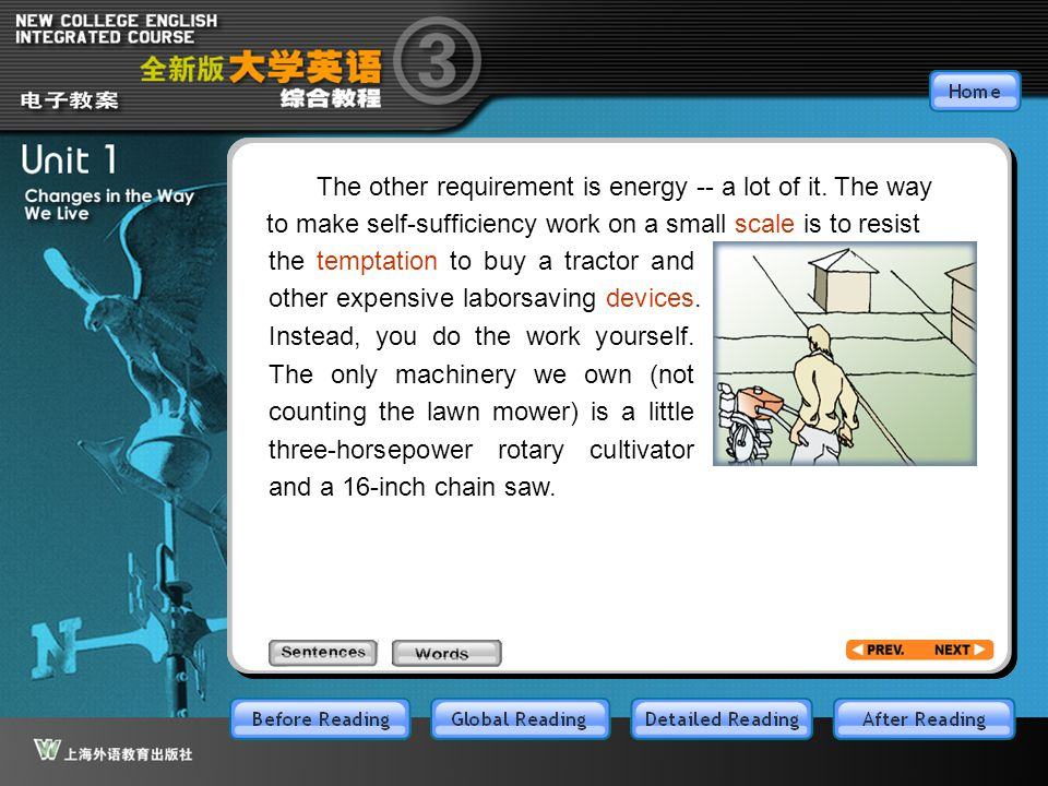 Article14_w The other requirement is energy -- a lot of it. The way to make self-sufficiency work on a small scale is to resist.