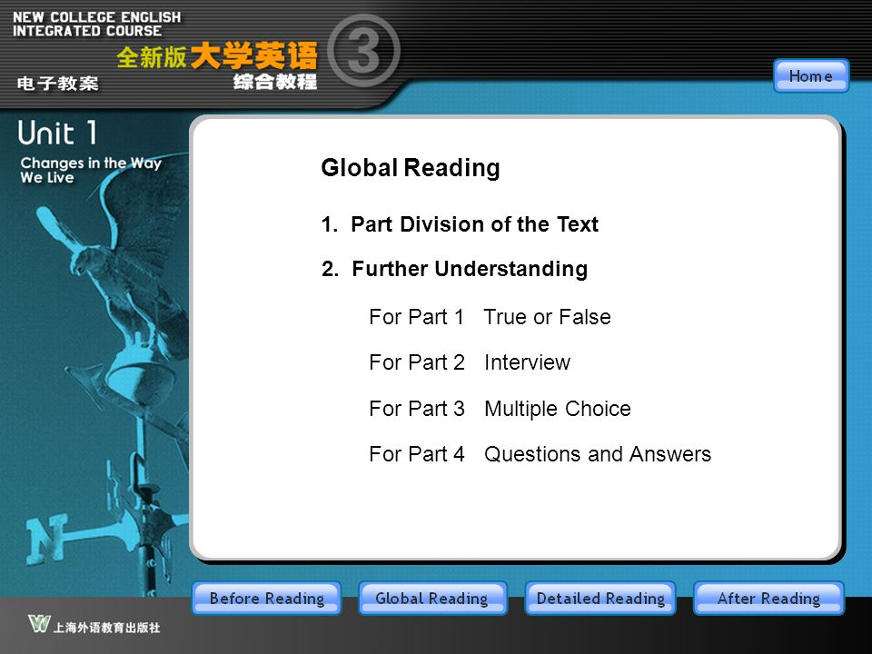 GR-main Global Reading 1. Part Division of the Text