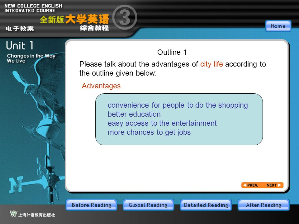 After-3-12 Outline 1. Please talk about the advantages of city life according to the outline given below: