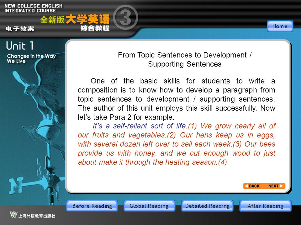From Topic Sentences to Development / Supporting Sentences