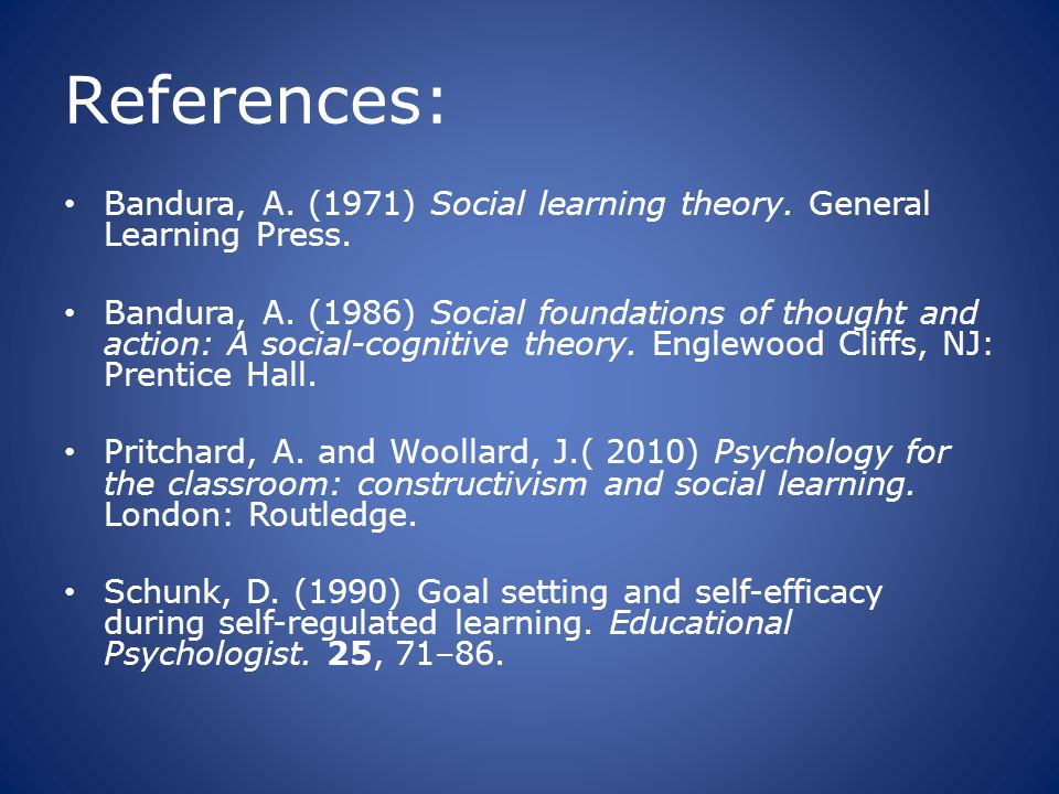 References: Bandura, A. (1971) Social learning theory. General Learning Press.