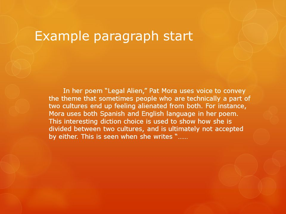 Example paragraph start