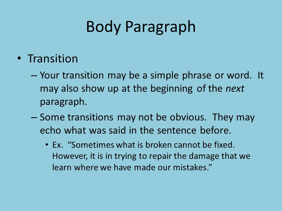 Body Paragraph Transition