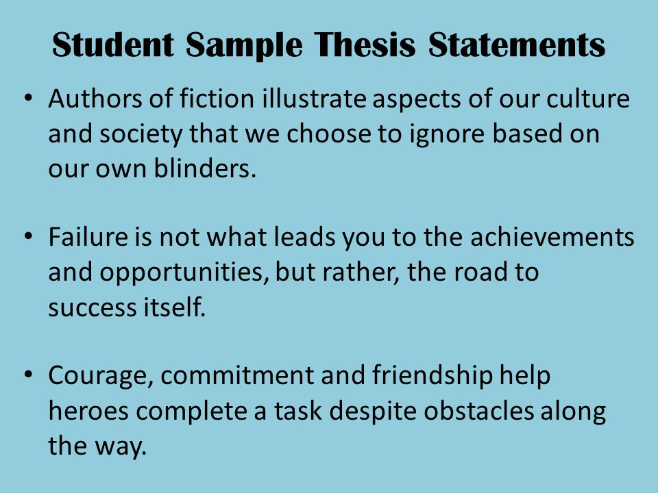 Student Sample Thesis Statements