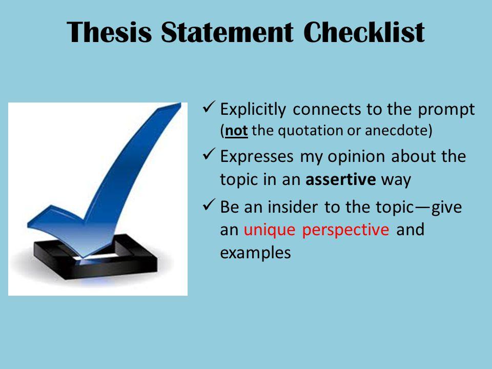 Thesis Statement Checklist