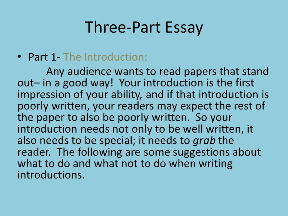 Three-Part Essay Part 1- The Introduction: