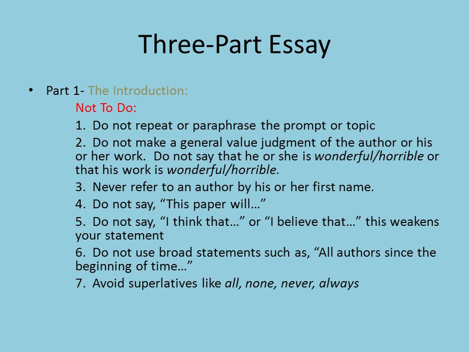 Three-Part Essay Part 1- The Introduction: Not To Do: