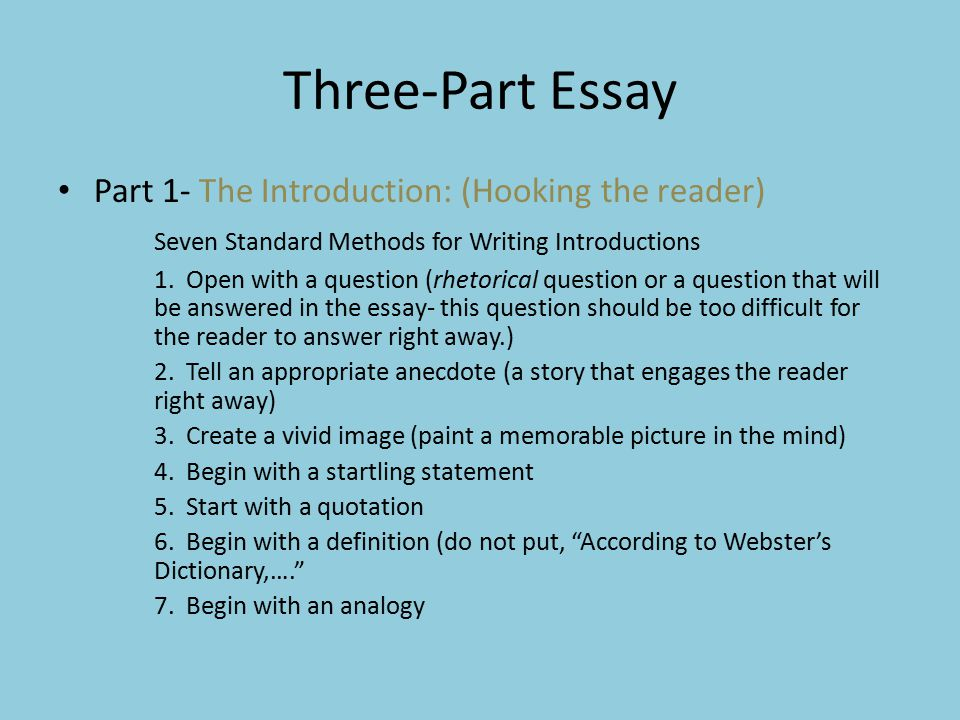 three part essay Parts of an essay — traditionally, it has been taught that a formal essay consists of three parts: the introductory paragraph or introduction, the body paragraphs.