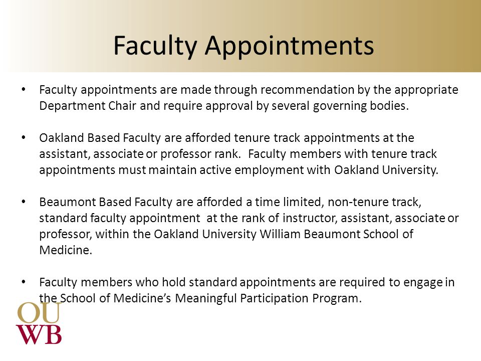 Faculty Appointments